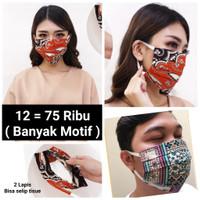 Masker Batik 2 Ply Bisa Selip Tisue / Masker Kain Bisa Dicuci Ulang