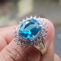 Cincin Wanita Batu Akik Permata Blue Topaz Swiss Top Crystal