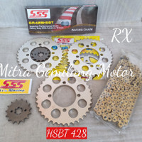 GEAR SET SSS YAMAHA RX KING VEGA F1ZR JUPITER MX HSBT 428 GOLD