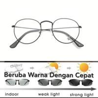 kacamata bulat besi free lensa photocromic blueray minus plus silinder