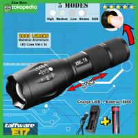 Paket Senter Tembak Swat Sepeda LED Cree XM-L T6 E17 Charger USB+18650
