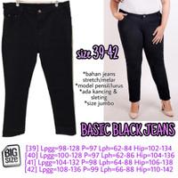 Basic Black Jeans 39 40 41 42 Celana Panjang Wanita Jumbo Big Size