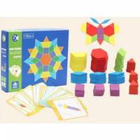Wooden pattern block - mainan kayu anak - puzzle kayu - mainan edukasi