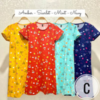 Daster Fit to S-L Casual Baby Terry Lengan Pendek Mini Home Dress