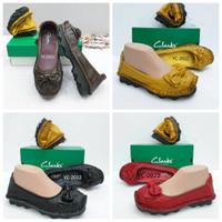 Sepatu Wanita Clarks litle Bow Flat kulit asli free masker Scuba
