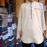 Baju koko pakistan putih | gamis pria | qurta | baju taqwa