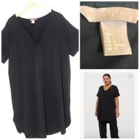 Midi Dress H&M Short Sleeved Tunic Black