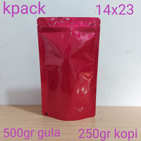 kemasan standing pouch merah glossy 500z