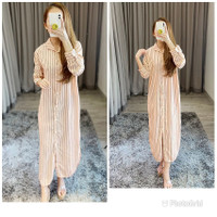 Tunik Garis Garis/Maxi Dress Tangan Panjang Salur Salem/Glr Maxy Strip