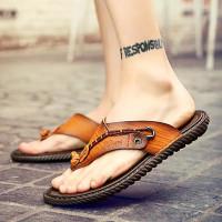 Sandal Pria Kulit Sapi Asli Import Fashionable 3744