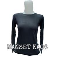 Manset kaos wanita leher Oblong bahan rayon Super Halus - Hitam, All Size Fit L