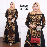 Baju dress gamis wanita super jumbo ld 140 batik kombinasi motif