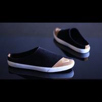 Sepatu Sendal Slop Casual Pria Nike Bustong Handmade Bandung Bagus - Hitam, 39