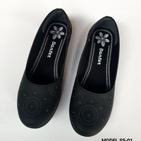 Sepatu Wanita Flat Shoes Wanita Slip On Casual Hitam Model Ruby SS-01 - Hitam, 36
