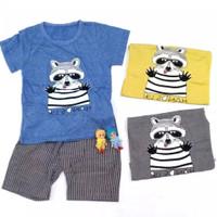 Setelan Baju Anak Bayi Cowok / Laki-Laki Rakun Import ( 2 bln - 3 th )