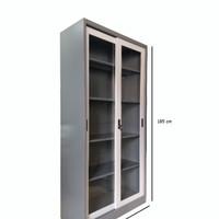 lemari arsip besi pintu sliding kaca.