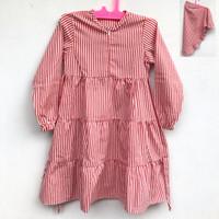 Baju Muslim Anak Motif Stripe Usia 2-3 tahun + Jilbab