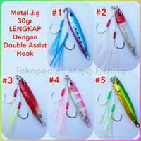 Metal Jig 30 gr Drag Metal Cast Slim Lengkap Dengan Double Assist Hook