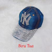 Topi baseball jeans NEWYORK NY wanita(biru tua)