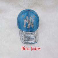 Topi Baseball Jeans NewYork NY Wanita(Biru Jeans)