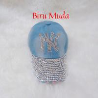 Topi baseball jeans NEWYORK NY wanita(biru muda)
