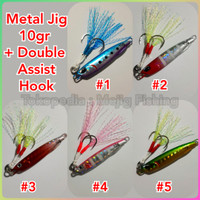 Metal Jig 10 gr Drag Metal Cast Slim Lengkap Dengan Double Assist Hook