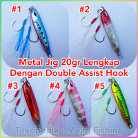 Metal Jig 20 gr Drag Metal Cast Slim Lengkap Dengan Double Assist Hook