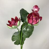 Teratai 3 cabang - merah /bunga plastik /daun plastik