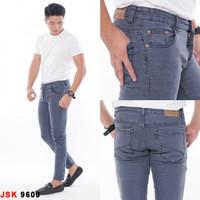 Celana Panjang Skinny Jeans Pria Stretch Bigsize Jumbo - 28, Hitam 9606