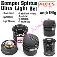 kompor ultralight ul cookingset burner spirtus alocs set
