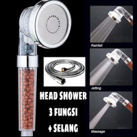 KEPALA SHOWER HEAD SHOWER ION FILTER 3 FUNGSI + SELANG 140cm