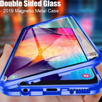 Case Magnetic double Glass kaca case Xiaomi Redmi Note 9 pro - Biru