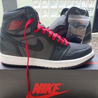 Nike Air Jordan 1 Retro High Black Satin Gym Red US 7.5 /EUR 40.5 BNIB
