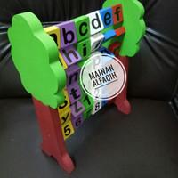 Mainan Edukasi Anak Pohon Huruf dan Angka Putar Kayu