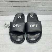 Sandal Pria Off White Black Grade ori 100% - Hitam, 40