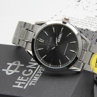 Jam Tangan Pria Original Hegner 8009 Silver Black