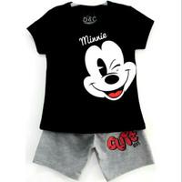 Size 1-10 Setelan Pendek Anak Karakter Minnie Mouse Kedip Hitam - Size 3