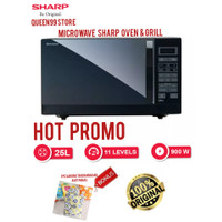 MICROWAVE MEWAH SHARP R728 OVEN & GRILL FULL BLACK NEW SERIES