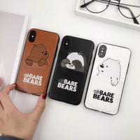 *Termurah* Casing Kulit Motif Kartun We Bare Bears untuk iPhone - Brown xr