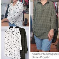 NTTN V-neck long sleeve blouse