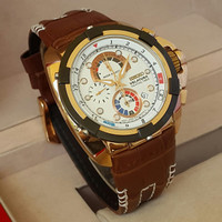 Jam Tangan Pria Seiko Velatura Chrono White Gold Dial Brown Leather