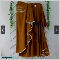 SHAFIRA - nabila gamis set Syar'i Moscrepe Setelan Best Seller /GAMIS - Cokelat