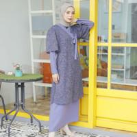 Yuri Hanbok Maxidress Persian Blue (Dress + Outer Brukat)