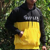 jaket sablon hoodie warna hitam kuning