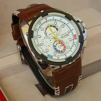 Jam Tangan Pria Seiko Velatura Chrono White Dial Brown Leather