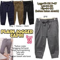 Plain Jogger Capri 38 Celana Tanggung Wanita Jumbo Big Santai Rumah