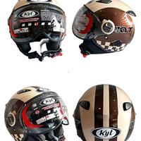 Helm KYT ElsicoRetro Classic Motif Brown Halfface Original seri 4