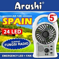 Arashi Kipas Angin Emergency Spain 5inch Lampu LED Radio Cas AR 128