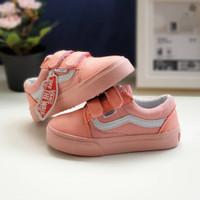 Sepatu Anak Vans Old Skool Pink Peach Perekat Premium BNIB