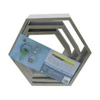 Rak Dinding Hexagon Set Isi 3 pcs - Kayu